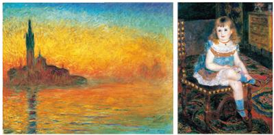 右/ピエール=オーギュスト・ルノワール 《すわるジョルジェット・シャルパンティエ嬢》 1876年 左/クロード・モネ 《黄昏、ヴェネツィア》 1908年頃 画像はすべて石橋財団ブリヂストン美術館